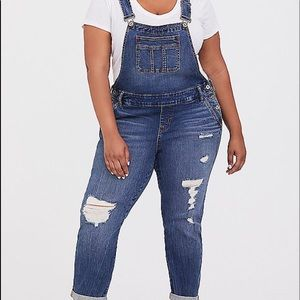 NWT Torrid Denim Distressed Vintage crop Overalls